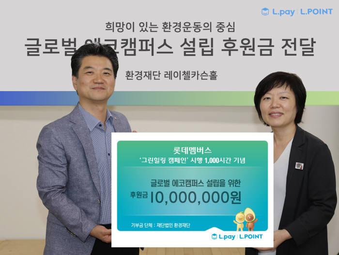 이승준 롯데멤버스 마케팅부문장(왼쪽)과 이미경 환경재단 상임이사