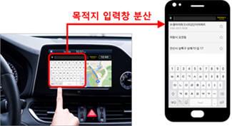 네비게이션 앱 사용 예제. 다른 기기에 목적지 입력창을 분산시켜 더 편하게 목적지 경로를 검색할 수 있다.