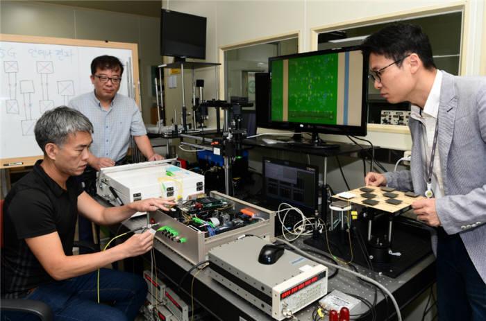전자기표준센터 연구팀(왼쪽부터 이동준 책임, 강노원 책임, 홍영표 선임)이 5G 기지국용 안테나 특성을 측정하고 있다.