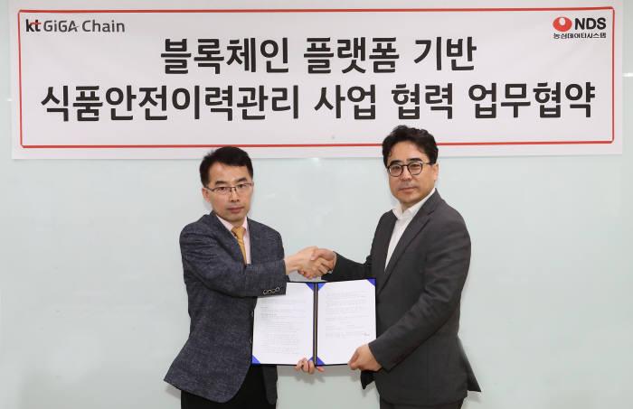 홍성완 NDS 상무-전략사업본부장(오른쪽)과 서영일 KT 상무-블록체인비즈센터장.