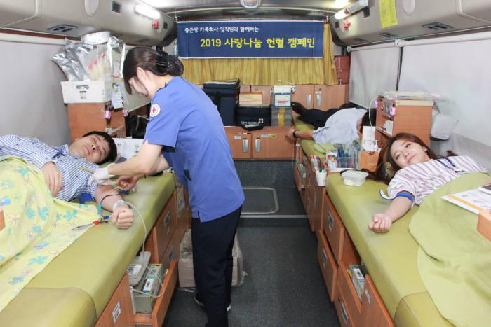 종근당 본사에서 직원들이 지난 22일부터 26일까지 사랑나눔 헌혈캠페인에 참여했다.