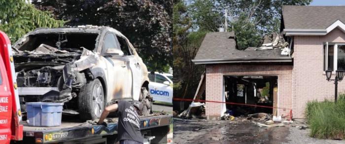 지난 26일 캐나다 몬트리올 일자비드 지역에서 발생한 현대차 코나 일렉트릭과 차고지 폭발 사고 현장.