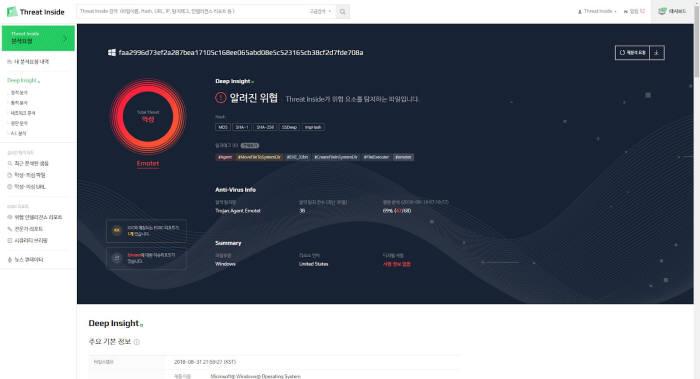 이스트시큐리티 '쓰렛인사이드' AI로 위협 3억건 분석