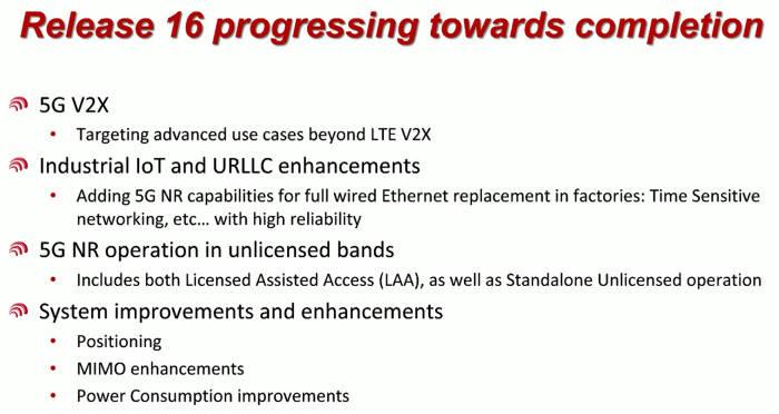 지난해 하반기부터 시작한 릴리즈16은 내년 초 표준화가 완료된다. 릴리즈16은 전반적인 5G 시스템 성능 개선, 5G 기반 융합 산업 지원에 목표를 둔다.