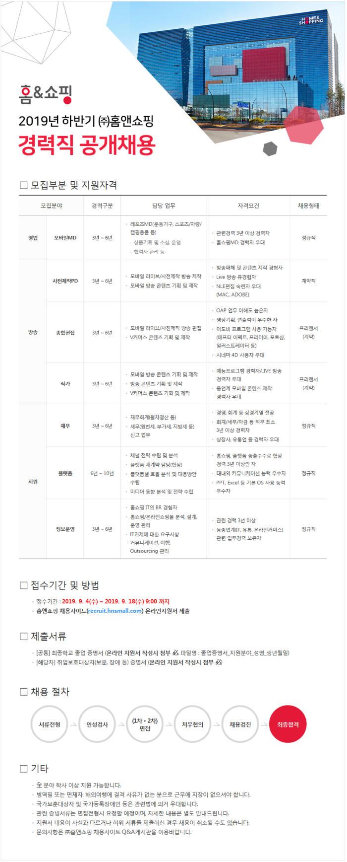 홈앤쇼핑, 2019 하반기 경력직 공개채용