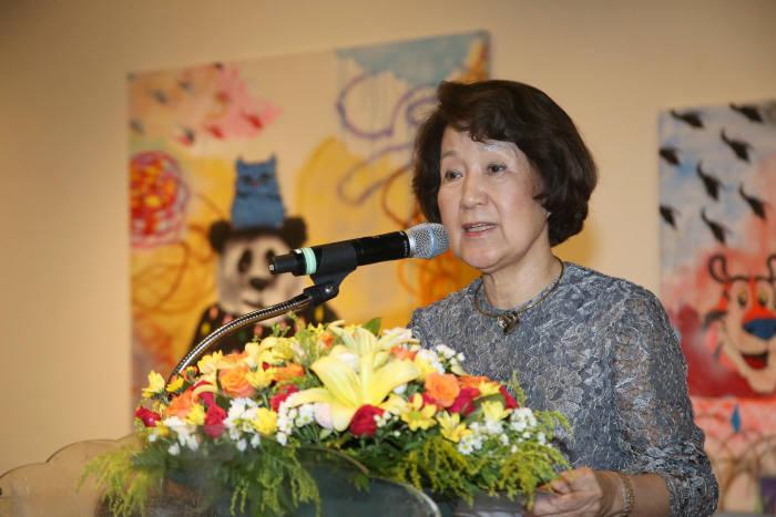 조영수 한세예스24문화재단 이사장이 2019 국제문화교류전 개막식에서 인사말을 했다.