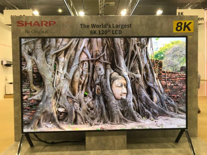 샤프가 IFA 2019에 전시한 세계 최대 120인치 8K TV.