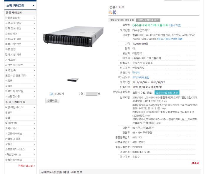 유니와이드테크놀로지가 조달시장에 자사 AMD 서버 제품을 판매하고 있다.
