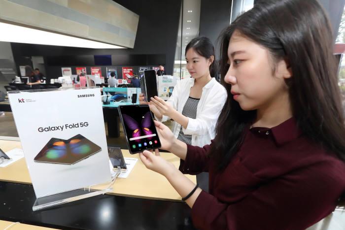 KT가 18일부터 25일까지 전국 KT 매장과 공식 온라인채널 KT샵에서 삼성전자 갤럭시폴드 5G 예약을 진행한다.