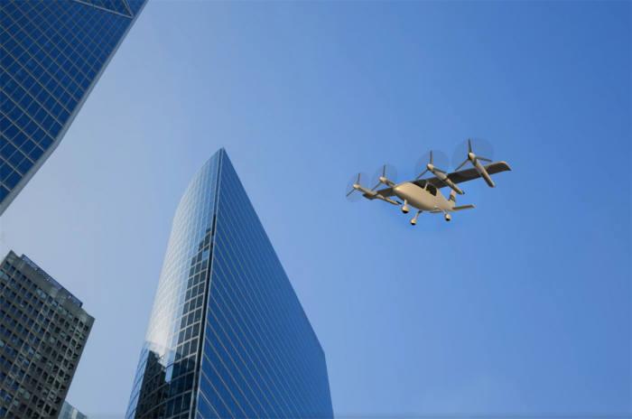 항우연이 주축이 돼 개발하는 유무인 겸용 개인항공기(OPPAV) 비행 상상도