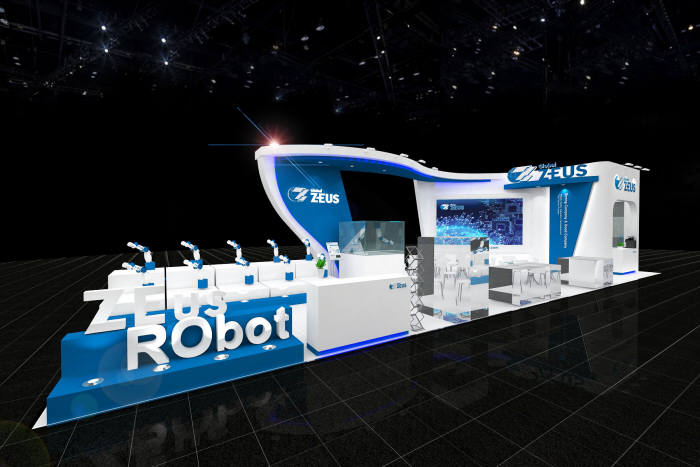 2019 로봇월드에 참여한 제우스 전시 부스 조감도. (자료=제우스)