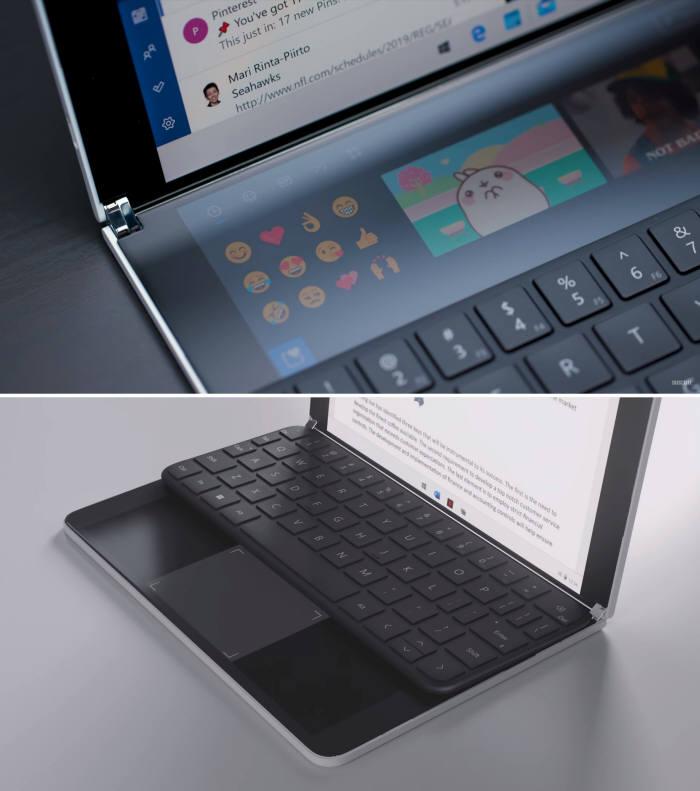 키보드를 하단에 놓았을 때 변경되는 UI는(위쪽) 마치 4K 듀얼 디스플레이를 적용한 에이수스 노트북 젠북 프로 듀오를 보는 느낌이다. 반대로, 키보드를 상단에 놓으면 하단 화면에서 노트북과 똑같은 터치패드가 등장한다. [사진=더 버지, MS]