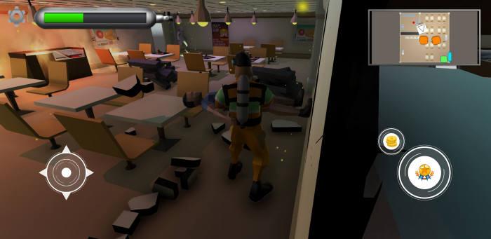 소방관 체험 게임 실행 화면.