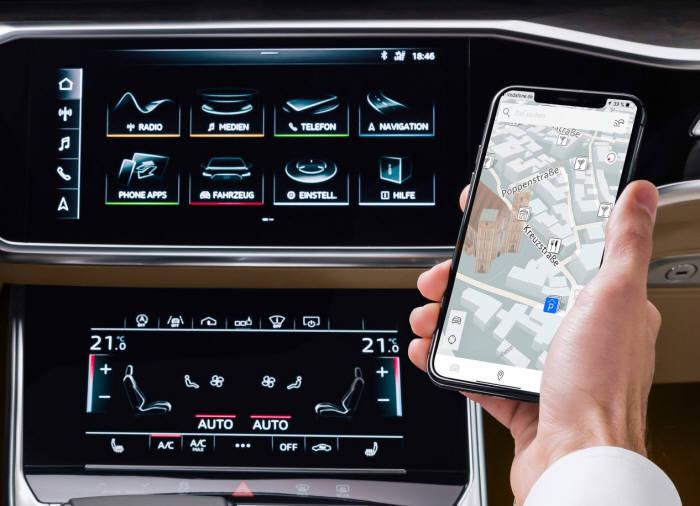 아우디 커넥트 시스템으로 운전자는 스마트폰 애플리케이션(앱)에서 차량 원격 제어와 상태 확인, 차량 찾기, 긴급 출동 요청 등을 이용할 수 있다.