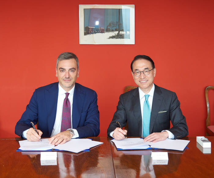 삼성SDS는 이탈리아 피에라 밀라노와 디지털 트랜스포메이션 추진을 위한 전략적 파트너십을 체결했다. 파브리지오 쿠르치 피에라 밀라노 대표(왼쪽)와 홍원표 삼성SDS 대표가 계약서에 사인을 하고 기념촬영했다. 삼성SDS 제공