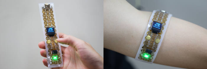 KAIST가 상황에 따라 강성을 조절, 들고 다니거나 몸에 부착할 수 있도록 개발한 전자기기 기술.