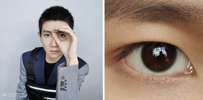 샤오미 미 CC9 프로로 찍은 인물 사진(왼쪽)과 눈동자 부분을 확대한 이미지.