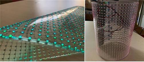 티디엘이 개발한 유연하고 가볍고 휘어지는 LED 투명 전광판.