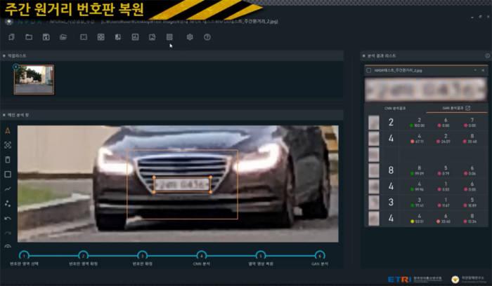 NPDR 시스템을 이용한 번호판 복원 시연 장면