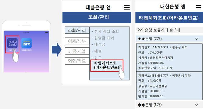 은행 모바일뱅킹앱 서비스 화면