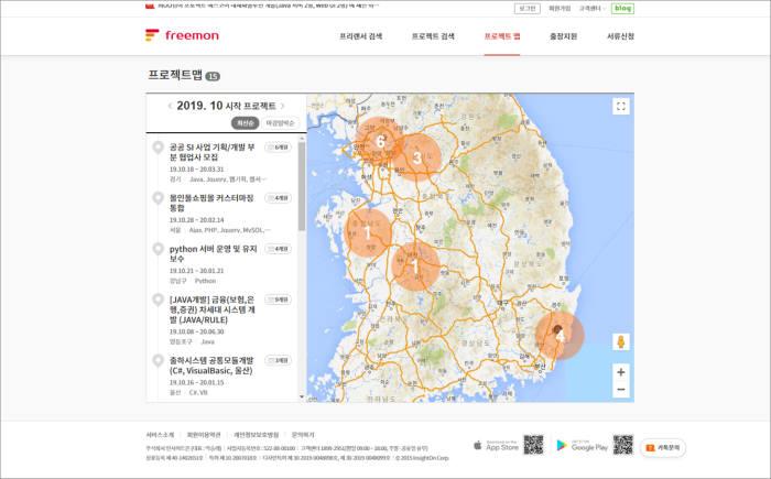 프리몬 제공 제역별 SI프로젝트 맵.