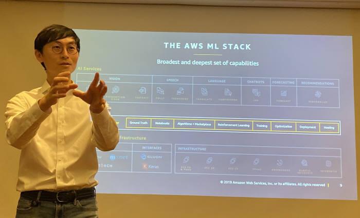 김일호 아마존웹서비스(AWS)코리아 솔루션즈아키텍트 매니저가 13일 서울 삼성동 그랜드 인터컨티넨탈 파르나스에서 열린 교육세션에서 AWS 머신러닝 기술에 대해 설명하고 있다. 박종진기자 truth@