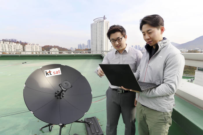 KT SAT, KT융합기술원 연구원들이 KT연구개발센터에서 위성 5G 시험 결과를 확인하고 있다.
