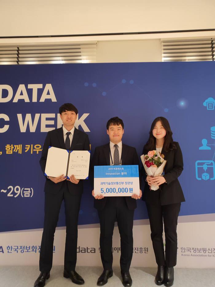 국민대 비즈니스IT전문대학원 학생들이 2019 빅콘테스트에서 대상인 과학기술정보통신부장관상을 수상했다. 사진:국민대 제공