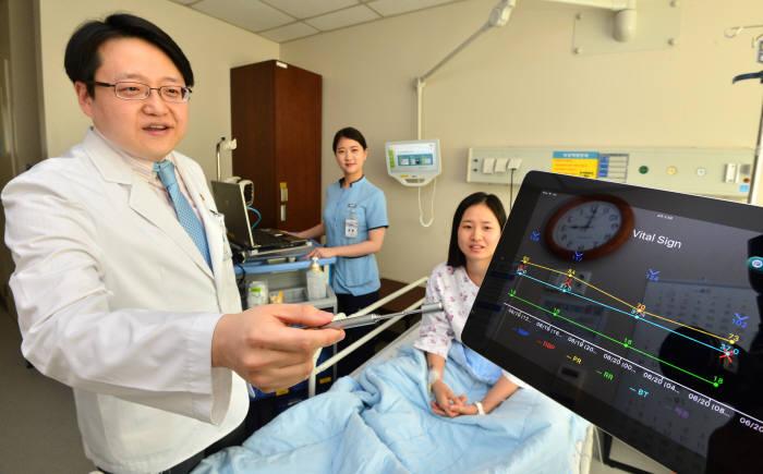 분당서울대병원 의료진이 태블릿PC로 환자 진료 정보를 확인하고 있다.(자료: 전자신문 DB)