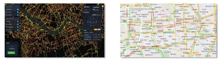 지오마스터 실시간 교통정보 기술 화면