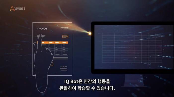 레인보우브레인이 구축한 오토메이션애니웨어 RPA솔루션 작동 화면.