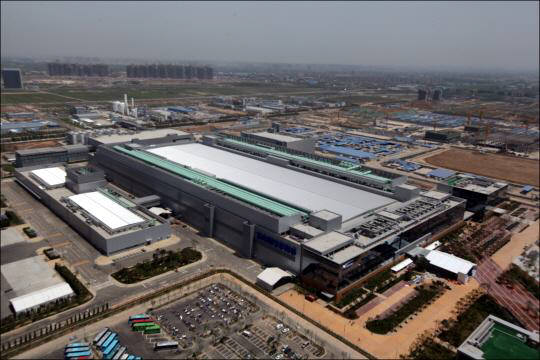 중국 신시성 시안의 삼성전자 반도체 생산공장 전경.