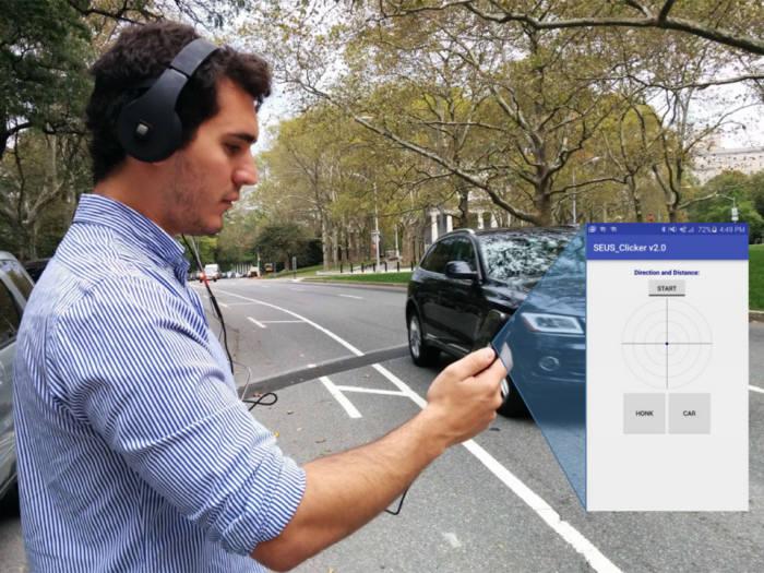 컬럼비아대 연구진이 개발한 헤드폰 차량 경보 시스템. <사진=컬럼비아대>