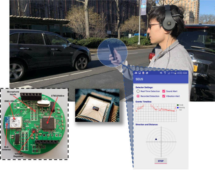 컬럼비아대 연구진이 개발한 헤드폰 차량 경보 시스템 원리. <사진=컬럼비아대>