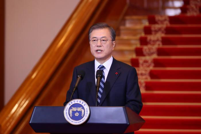 문재인 대통령이 7일 청와대에서 신년사를 발표하고 있다. 연합뉴스