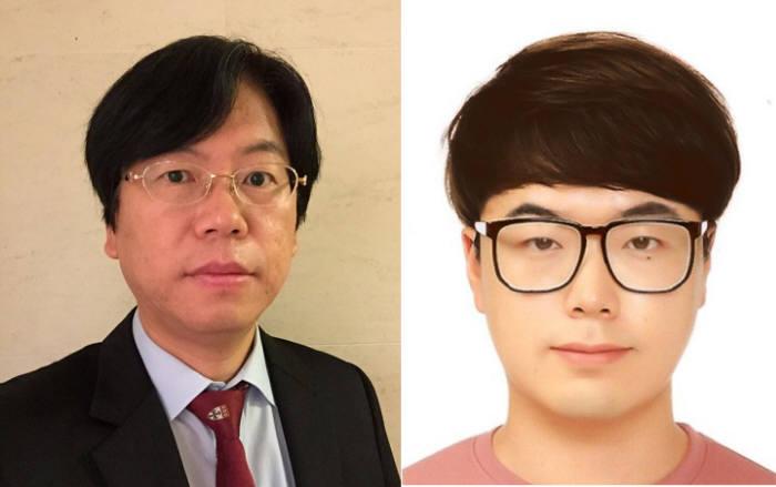 포스텍 연구팀이 빛을 이용, 당뇨를 진단하고 망막증을 치료할 수 있는 스마트 콘택트렌즈를 개발했다. 사진은 한세광 교수(왼쪽)와 이건희 통합과정 학생.