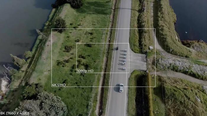 1080p, 4K, 8K 화면 비교. <사진=아우텔로보틱스>