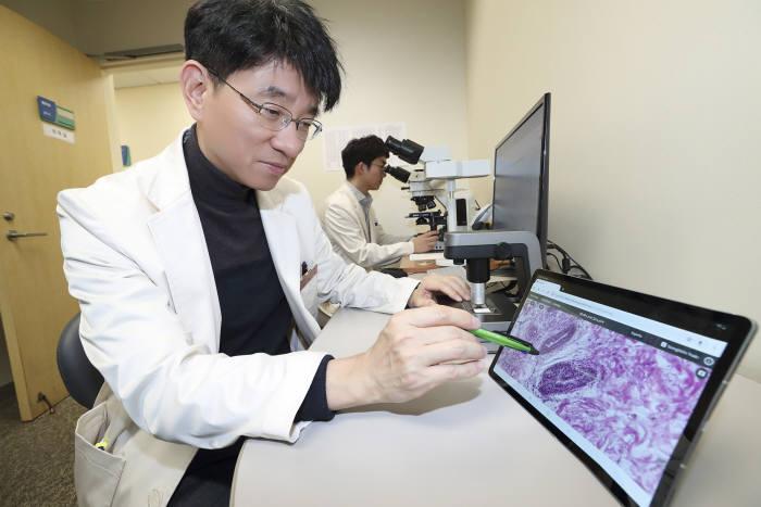 삼성서울병원 집무실에서 병리과 교수가 방금 촬영된 환자의 병리 데이터를 확인하고 있다.