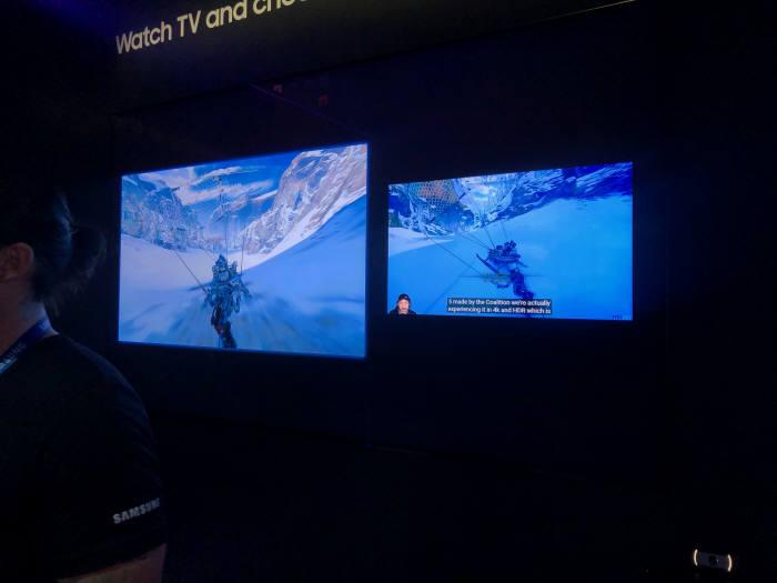 TV 한대로 두가지 화면을 띄울수 있다. 게임을 즐기면서 동시에 게임 유튜브 생중계를 볼수 있다. 사진: 전자신문