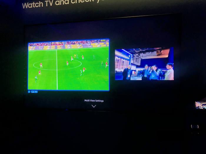 TV 한대에서 두가지 화면이 뜨는 삼성 멀티뷰 사진 : 전자신문