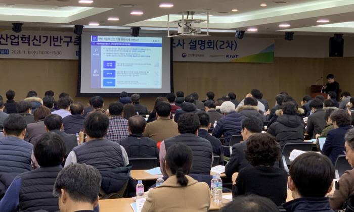 지난 15일 대전광역시 대전역 대회의실에서 열린 2021년도 산업혁신기반구축사업 신규과제 수요조사 설명회에서 참석자들이 발표를 듣고 있다.