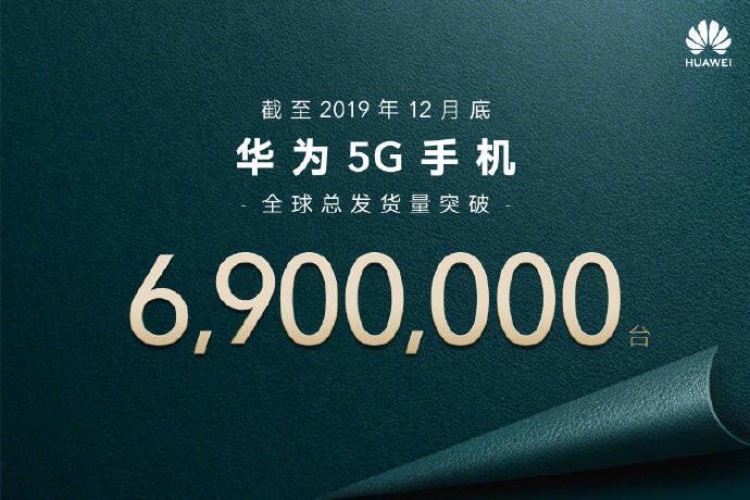 """화웨이는 중국 소셜미디어 웨이보 공식 계정에 """"2019년 12월말 기준 화웨이 5G 스마트폰 글로벌 촐 출하량은 690만대 이상""""이라고 밝혔다."""