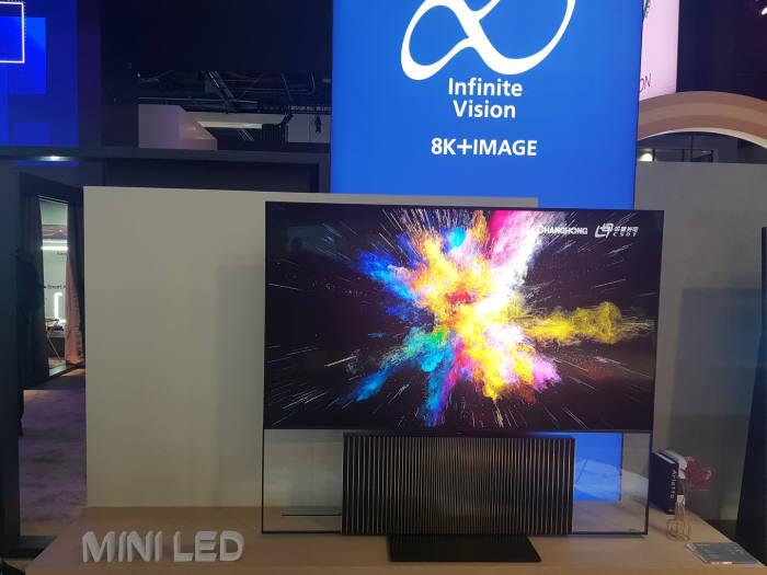 창홍이 CES 2020에서 전시한 미니 LED TV