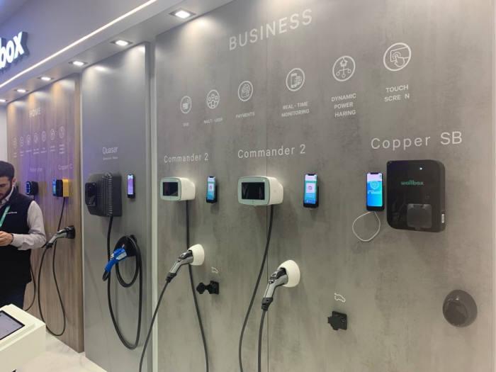 지난 7일 미국 라스베이거스에서 열린 CES 2020에서 월박스(wallbox)가 공개한 V2G(Vehicle to Gird) 기능을 장착한 전기차용 완속 충전기.