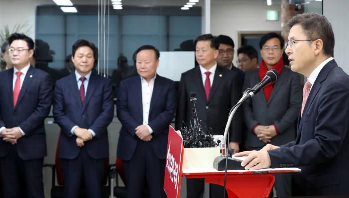 황교안 자유한국당 대표가 22일 오전 서울 영등포구 중앙당사에서 신년 기자회견을 하고 있다. <사진=연합뉴스>
