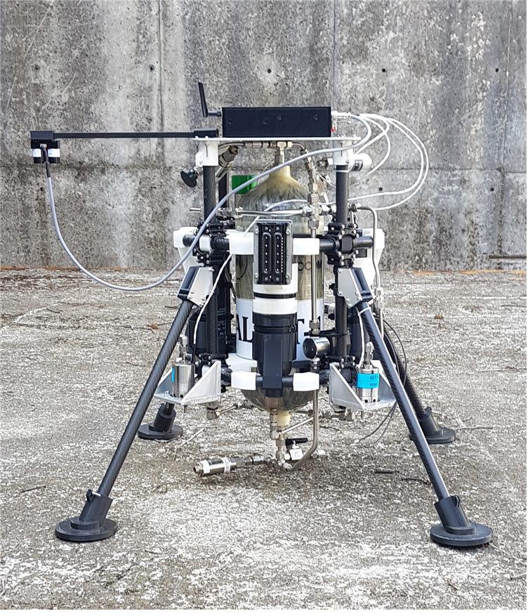 권세진 KAIST 교수팀과 KAIST 인공위성연구소가 개발한 달착륙선 지상시험기.