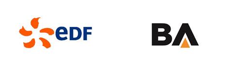 프랑스 전력청(EDF) 로고(왼쪽)와 비에이에너지 로고.
