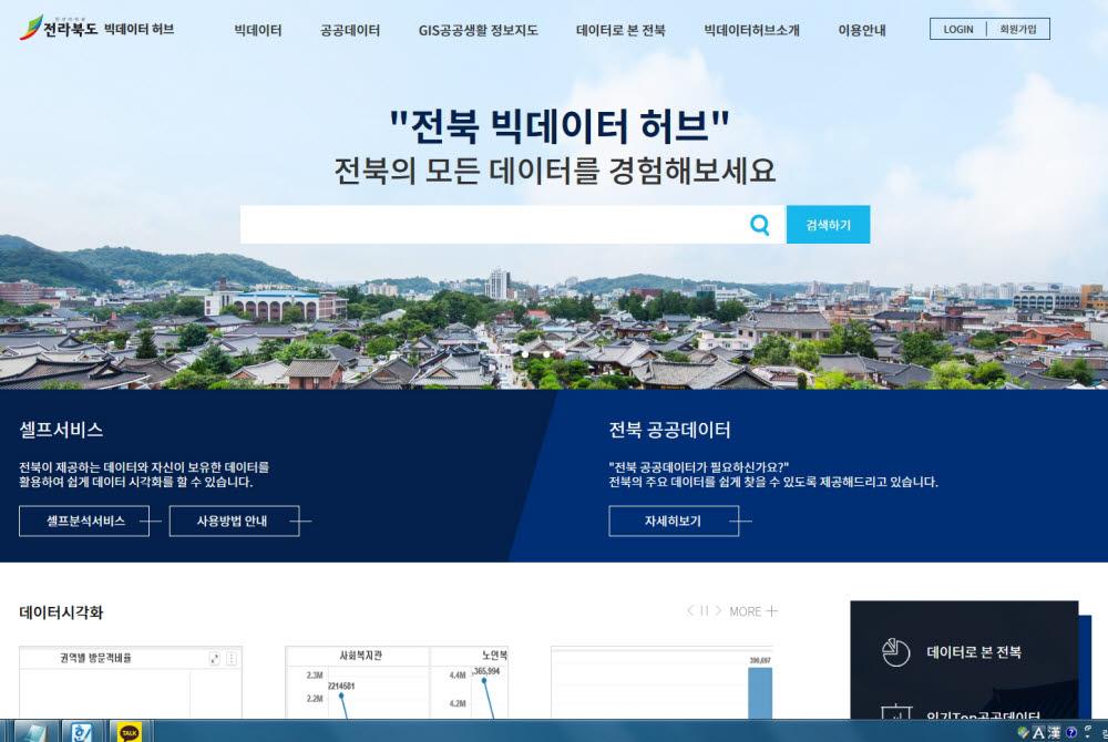 전라북도 빅데이터 허브 플랫폼 웹사이트 초기화면.