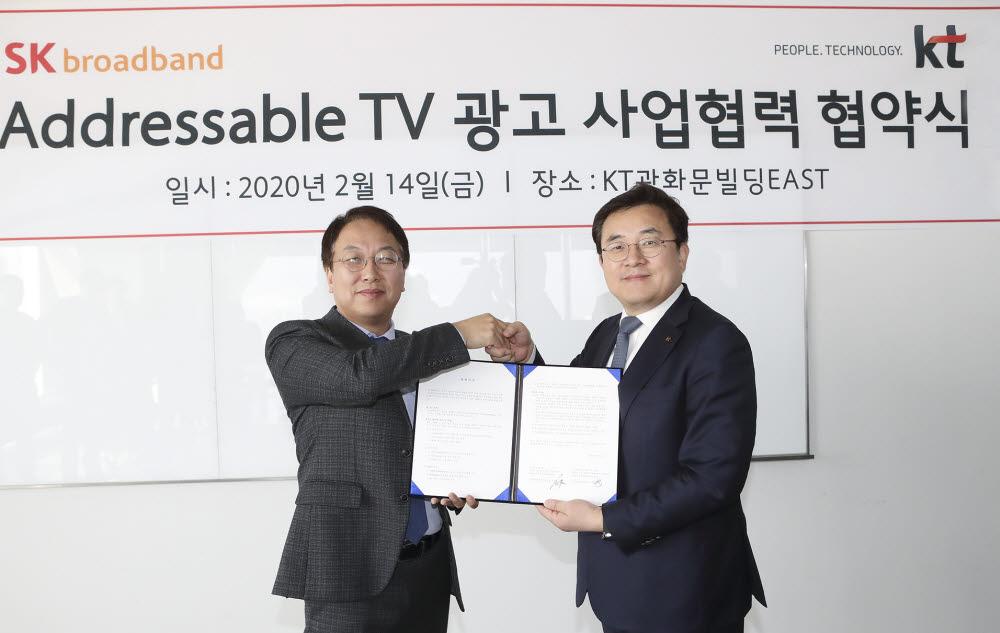 김혁 SK브로드밴드 미디어본부장(왼쪽)과 송재호 KT 미디어플랫폼사업본부장이Addressable TV 광고 사업 협력을 위한 업무협약을 체결했다.