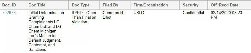 ITC 홈페이지 조기패소판결 화면 캡쳐(자료: LG화학)
